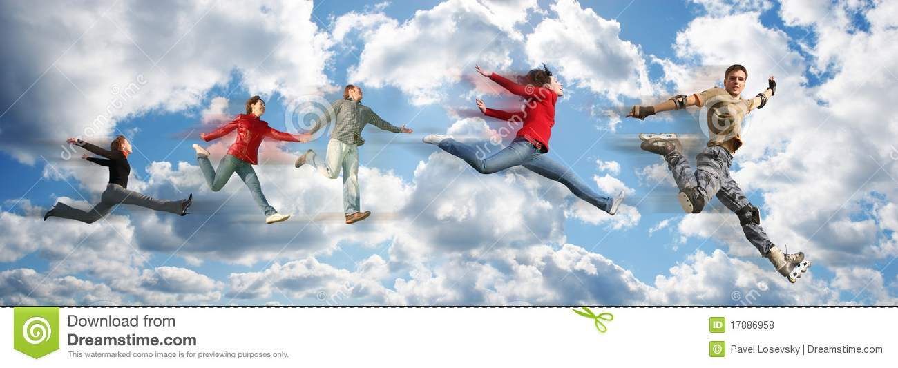 Download Flying People On Sky Cloud Panorama Collage Stock Photo - Image of busy, flying: 17886958