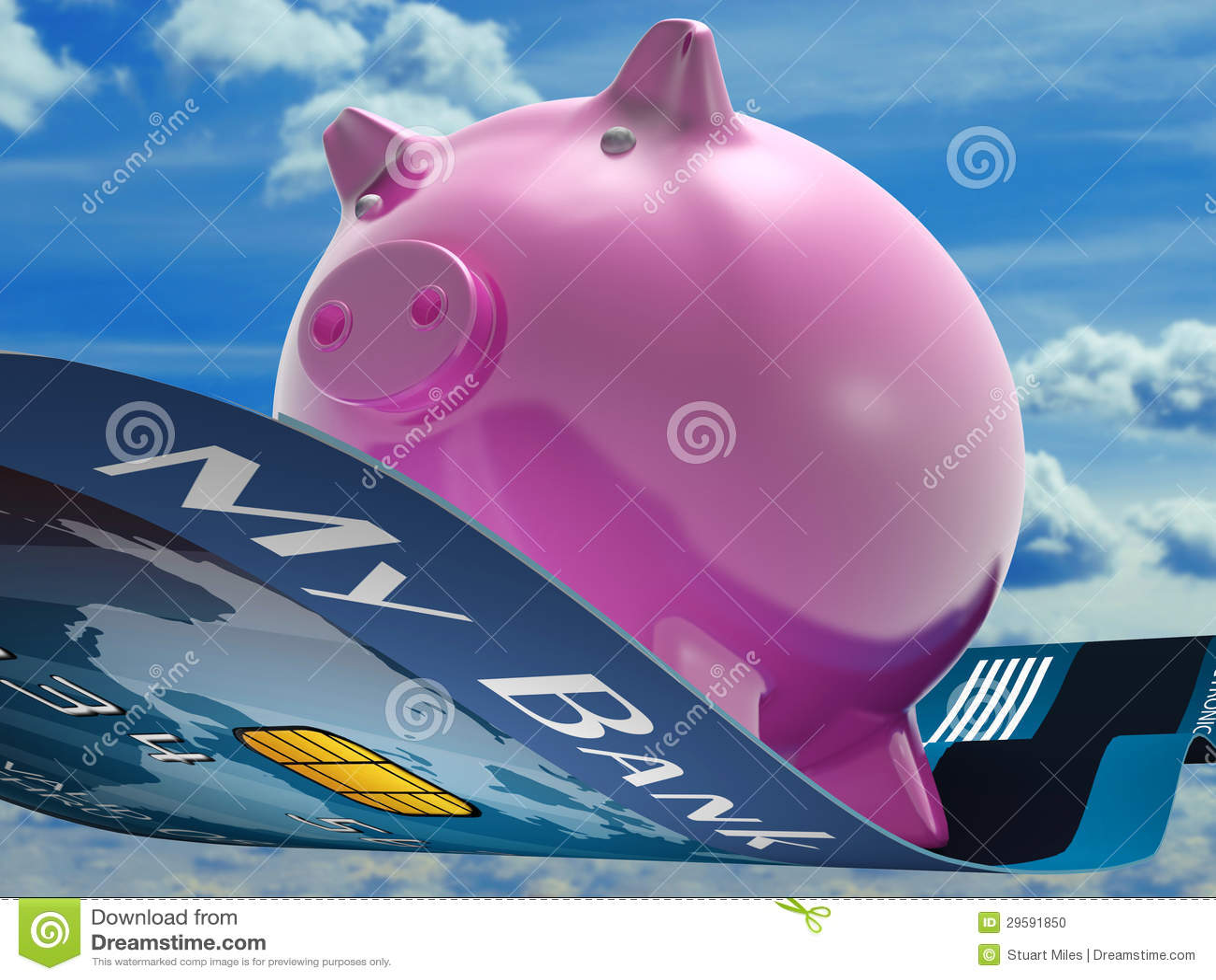 Flying Pig Shows Savings Bank Flying Stock Photo Image