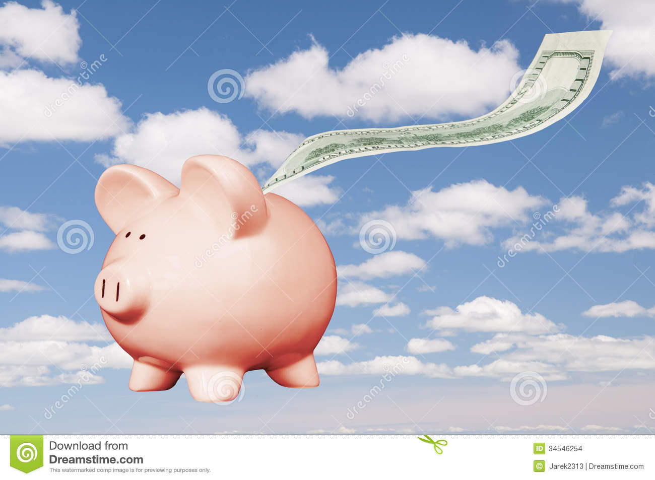 Flying Piggy Bank Stock Photo Image Of Money Plan Coins