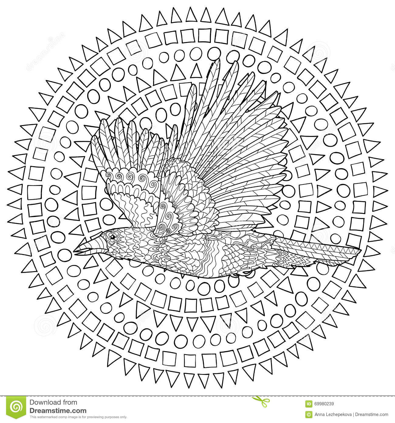 flying raven with high details stock vector image 69980239