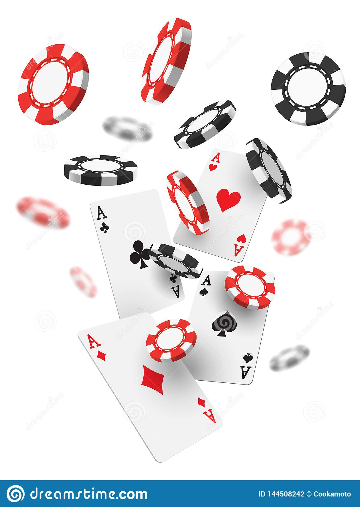 Flying realistic or 3d casino chips and aces cards