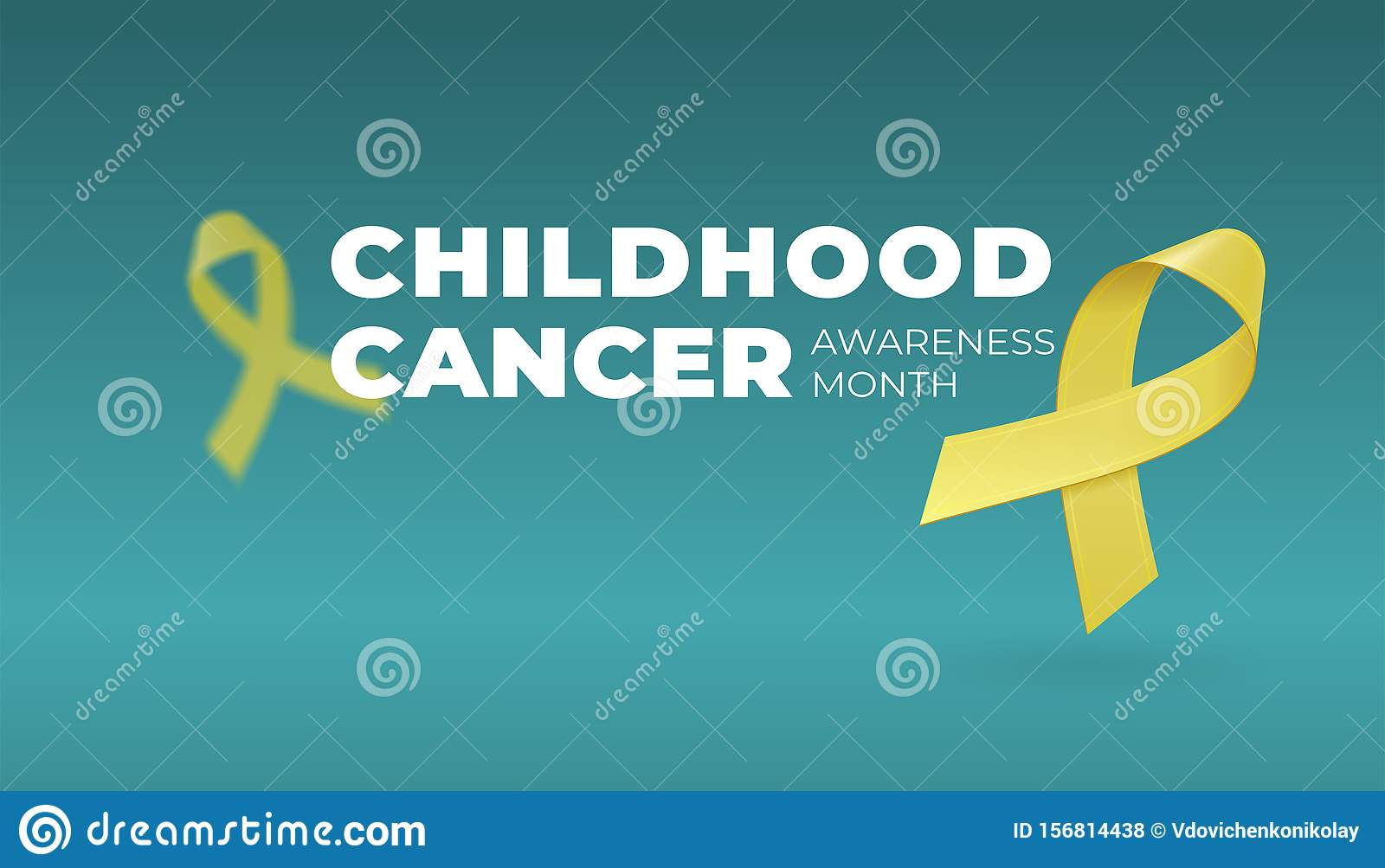 Flying realistic Yellow ribbons on dark background with copy space. Childhood Cancer Awareness symbol in September. Vector