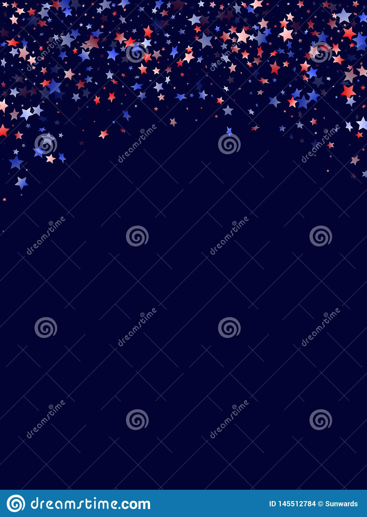 Patriotic Christmas Background.Flying Red Blue White Star Sparkles Vector American