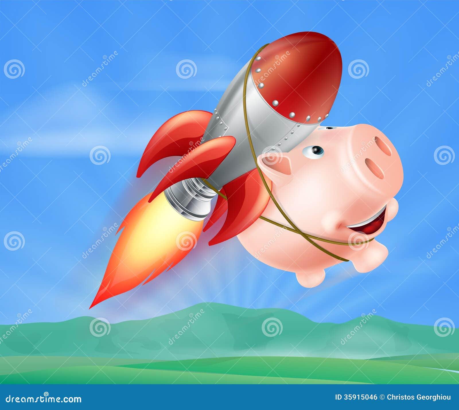Flying rocket piggy bank royalty free stock image image 35915046 - Rocket piggy bank ...