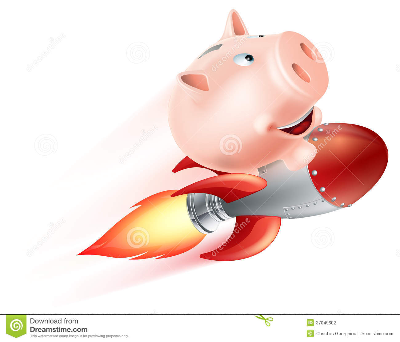 Flying rocket piggy bank stock vector image of bank 37049602 - Rocket ship piggy bank ...