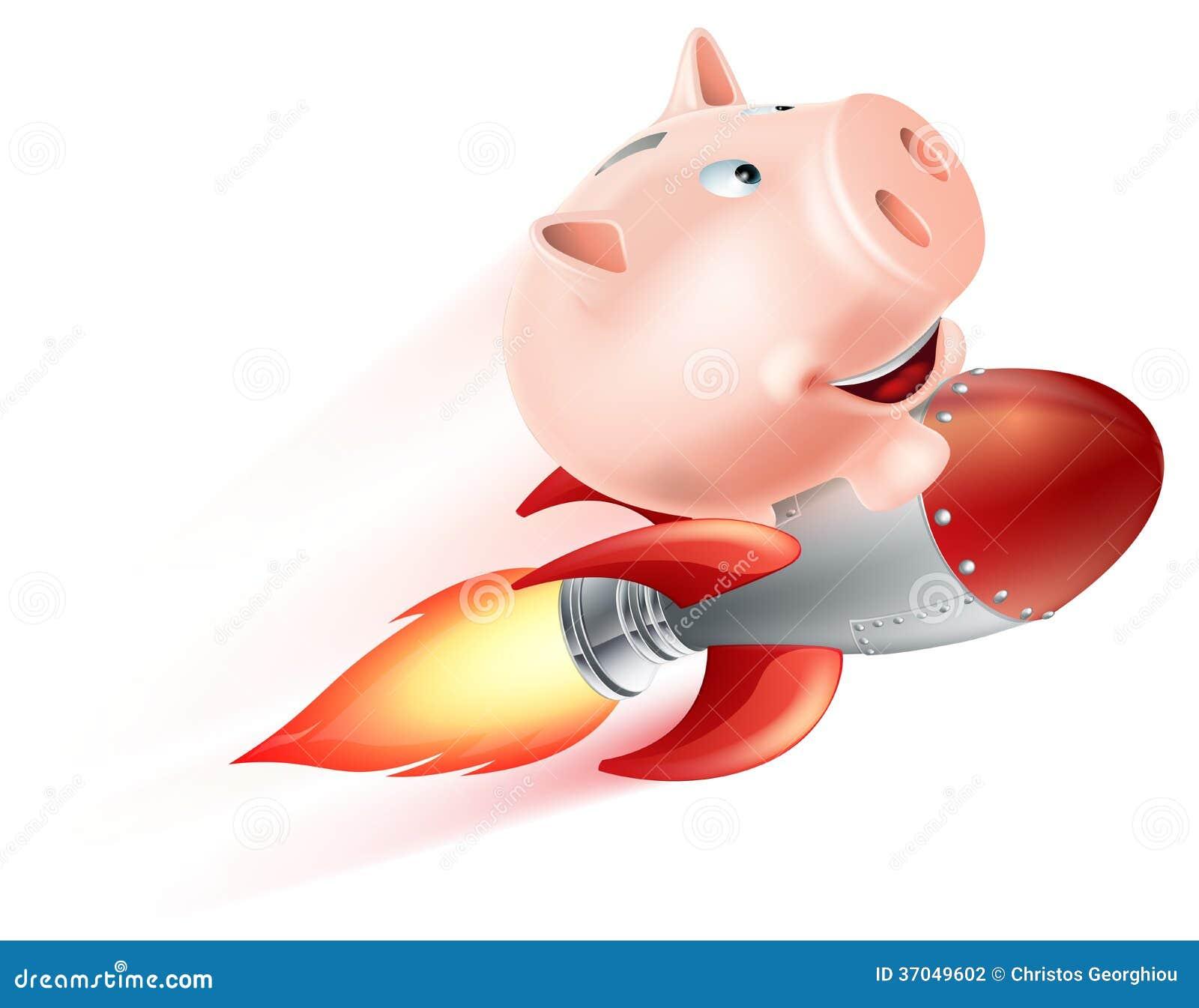 Flying Rocket Piggy Bank Stock Photography Image 37049602