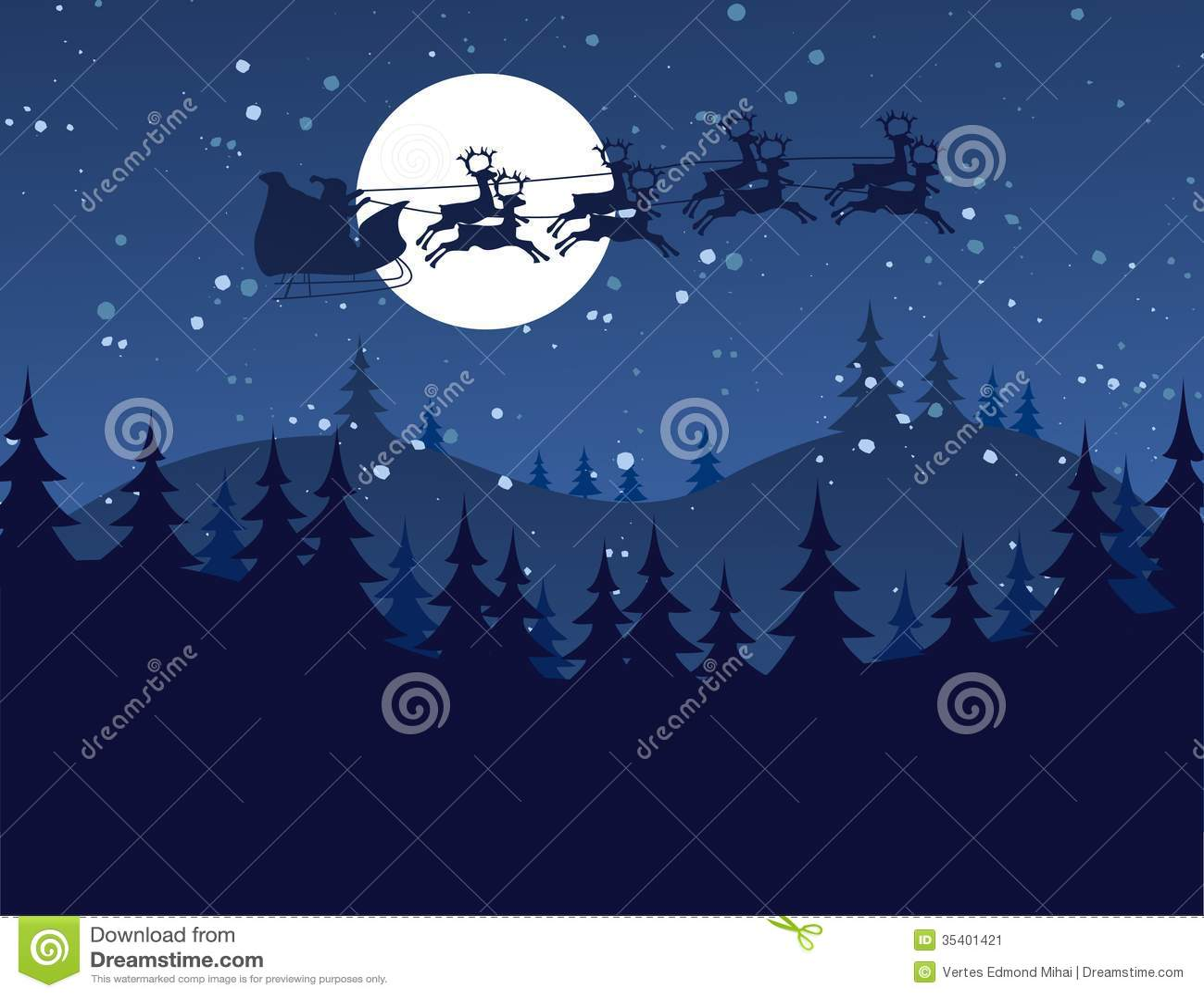 Flying Santa And Christmas Reindeer Stock Image - Image ...