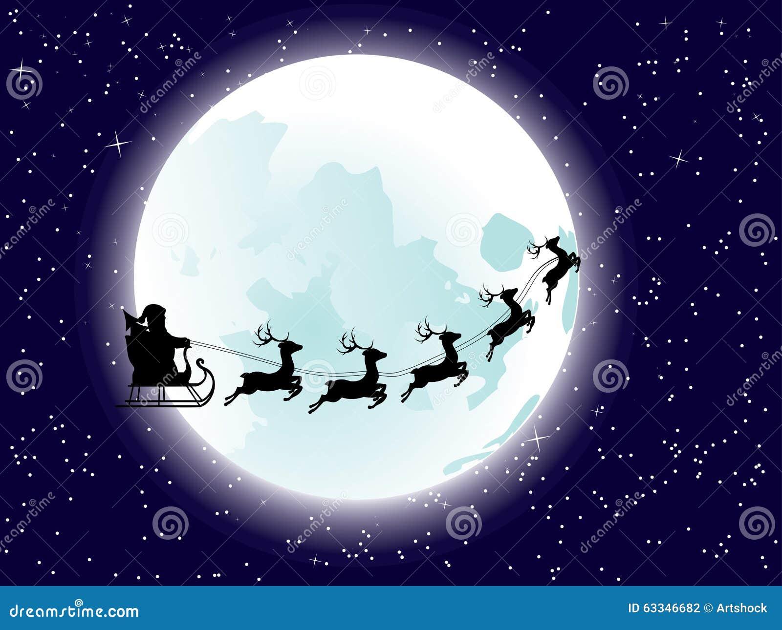 Flying Santa And Full Moon Stock Vector - Image: 63346682