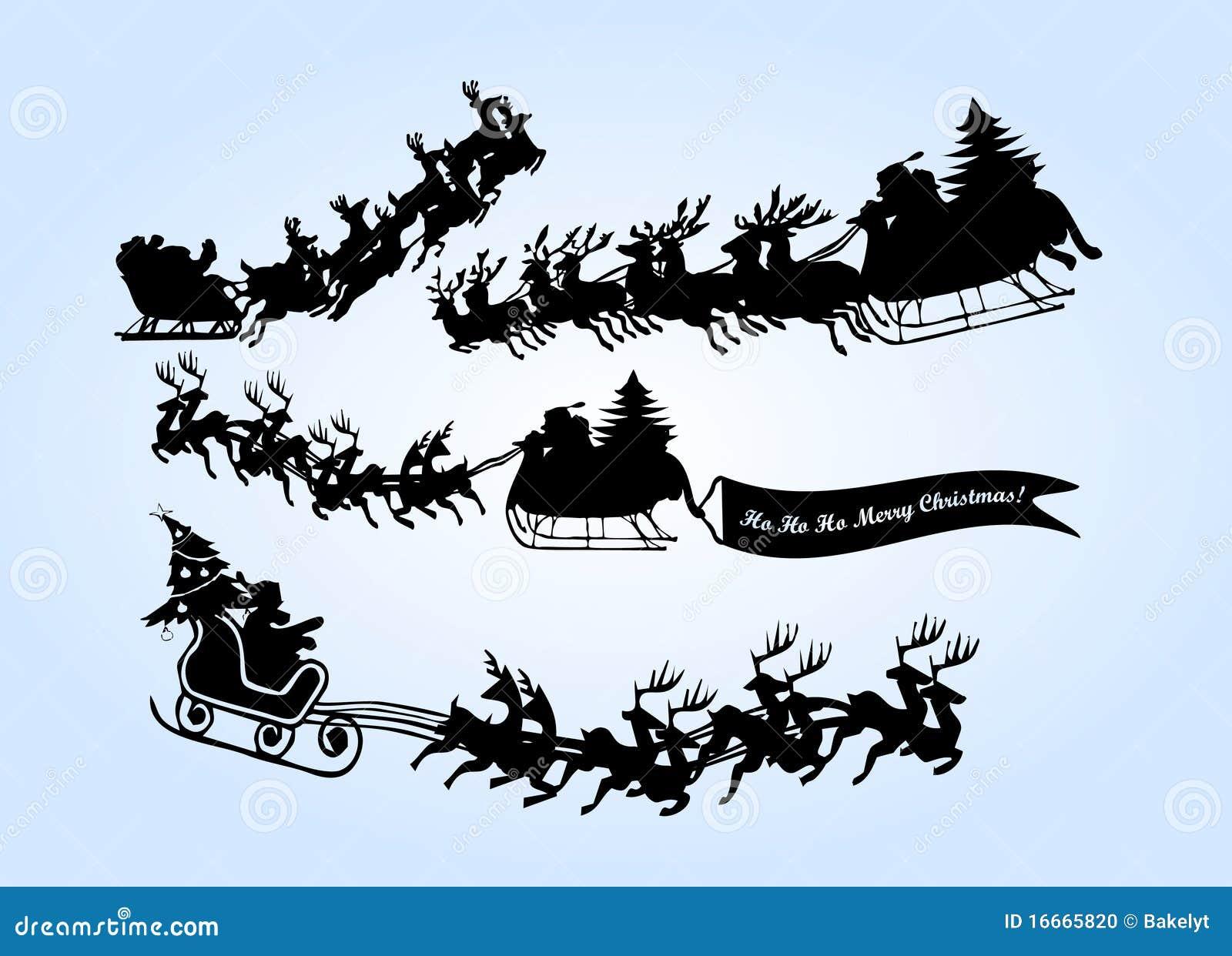 Flying Santa With Reinder Stock Photo - Image: 16665820