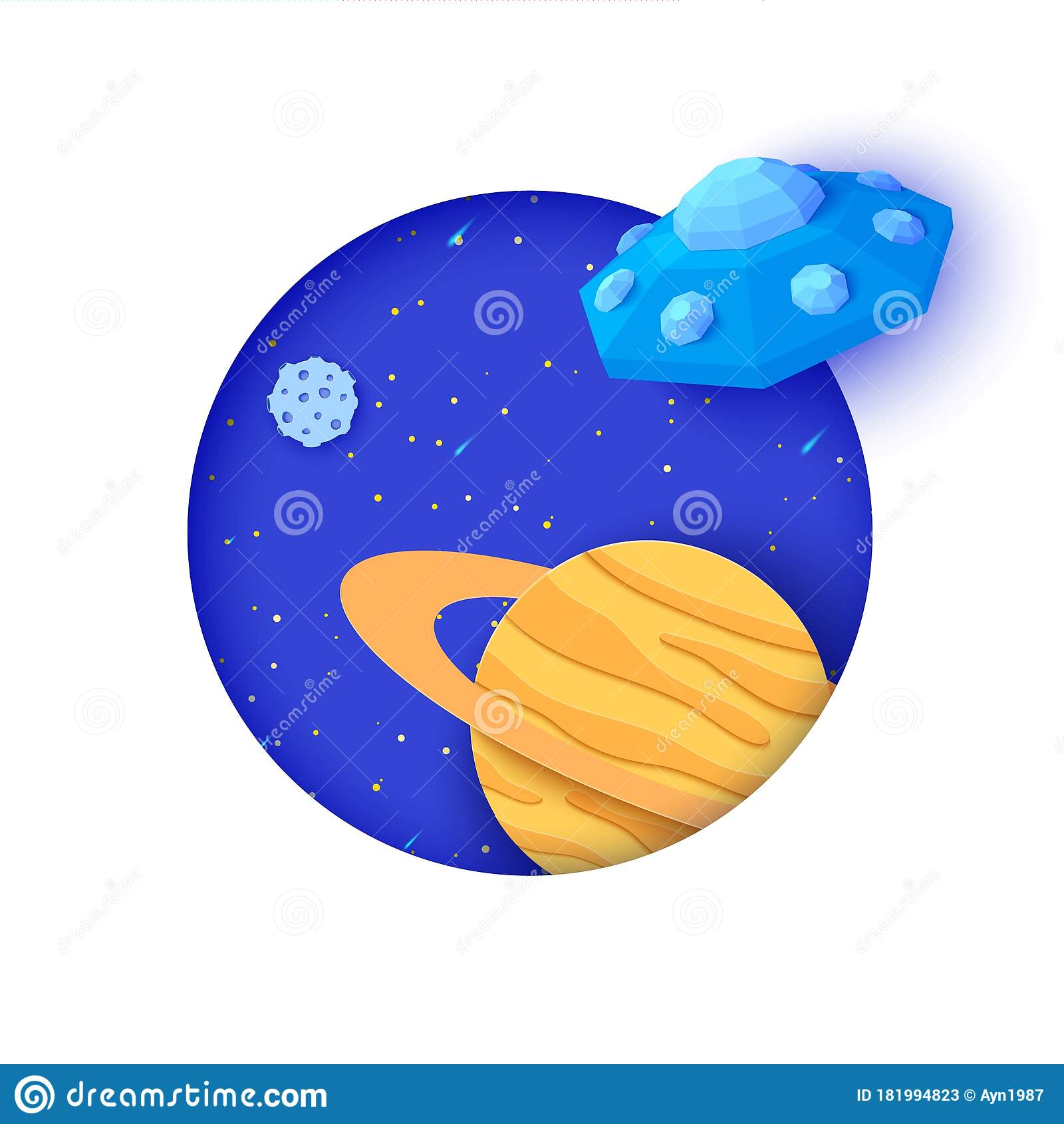 Flying Saucer Flying In Space In Paper Cut Style Galaxy Landscape 3d Craft Background With White Round Frame And Starry Stock Vector Illustration Of Polygon Cartoon 181994823