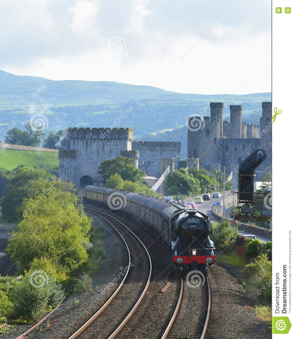 Flying Scotsman Train and Conwy Castle