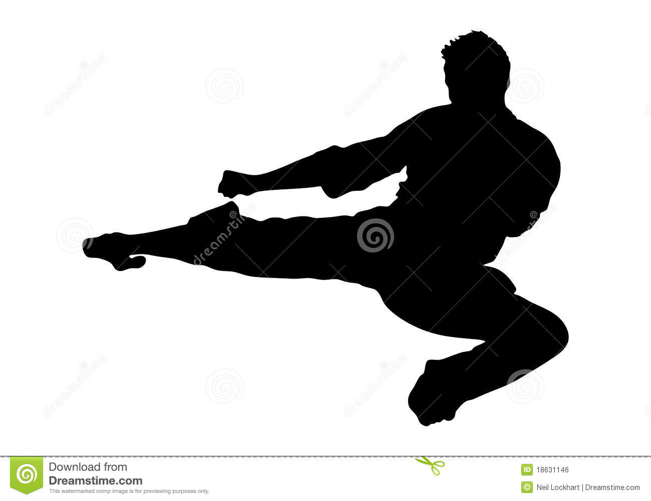 Martial Arts Jump Kick Silhouette. Karate Fighter Cartoon ...