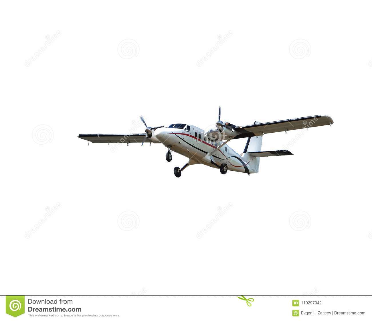 Flying small passenger propeller plane isolated on white background. Aircraft in flight