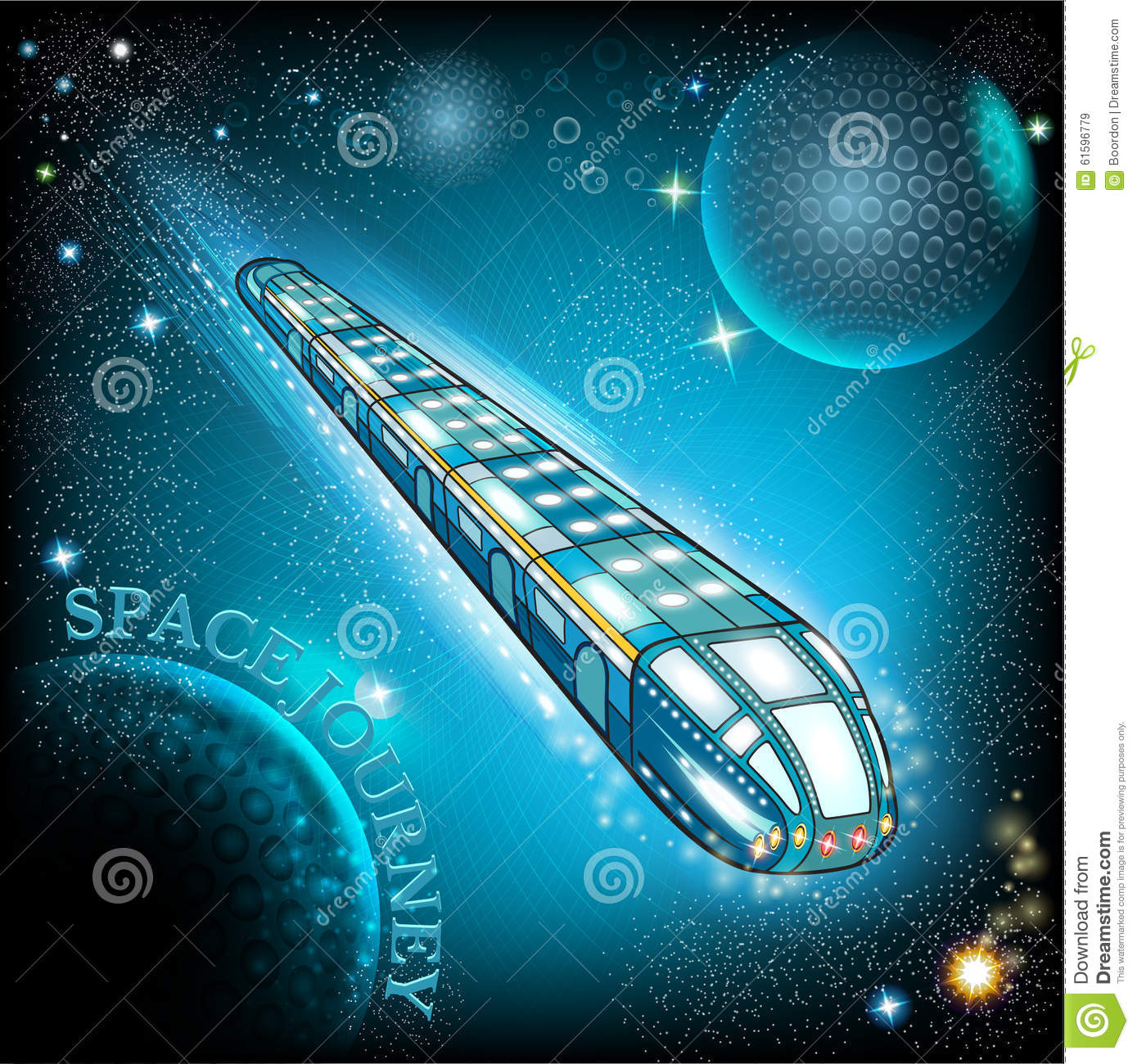 Flying space train with stary sky stock vector for Flying spaces