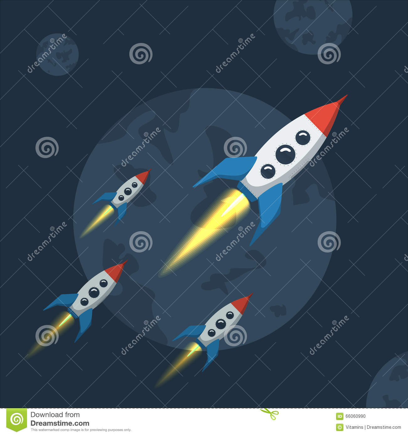 Flying spaceship in outer space stock vector image for Flying spaces