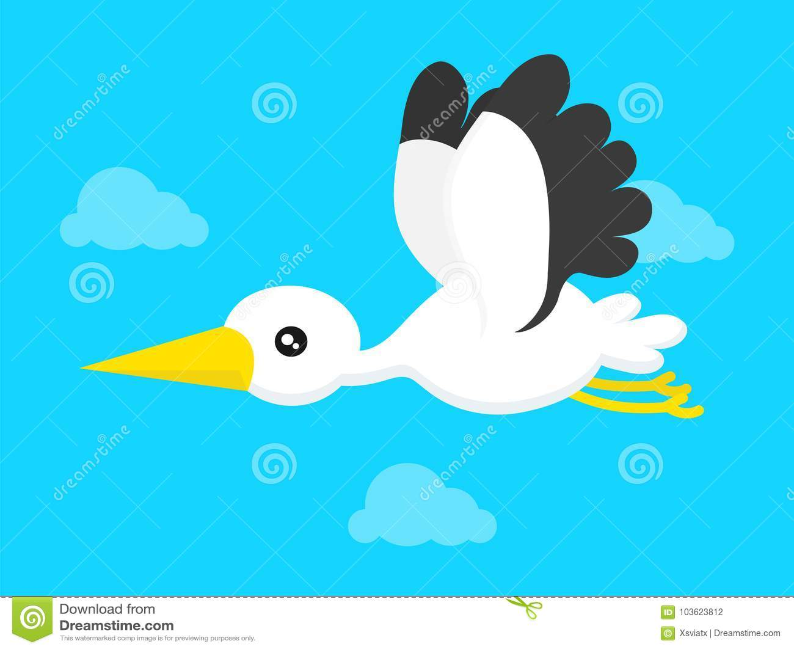Flying stork in blue sky. Vector modern flat