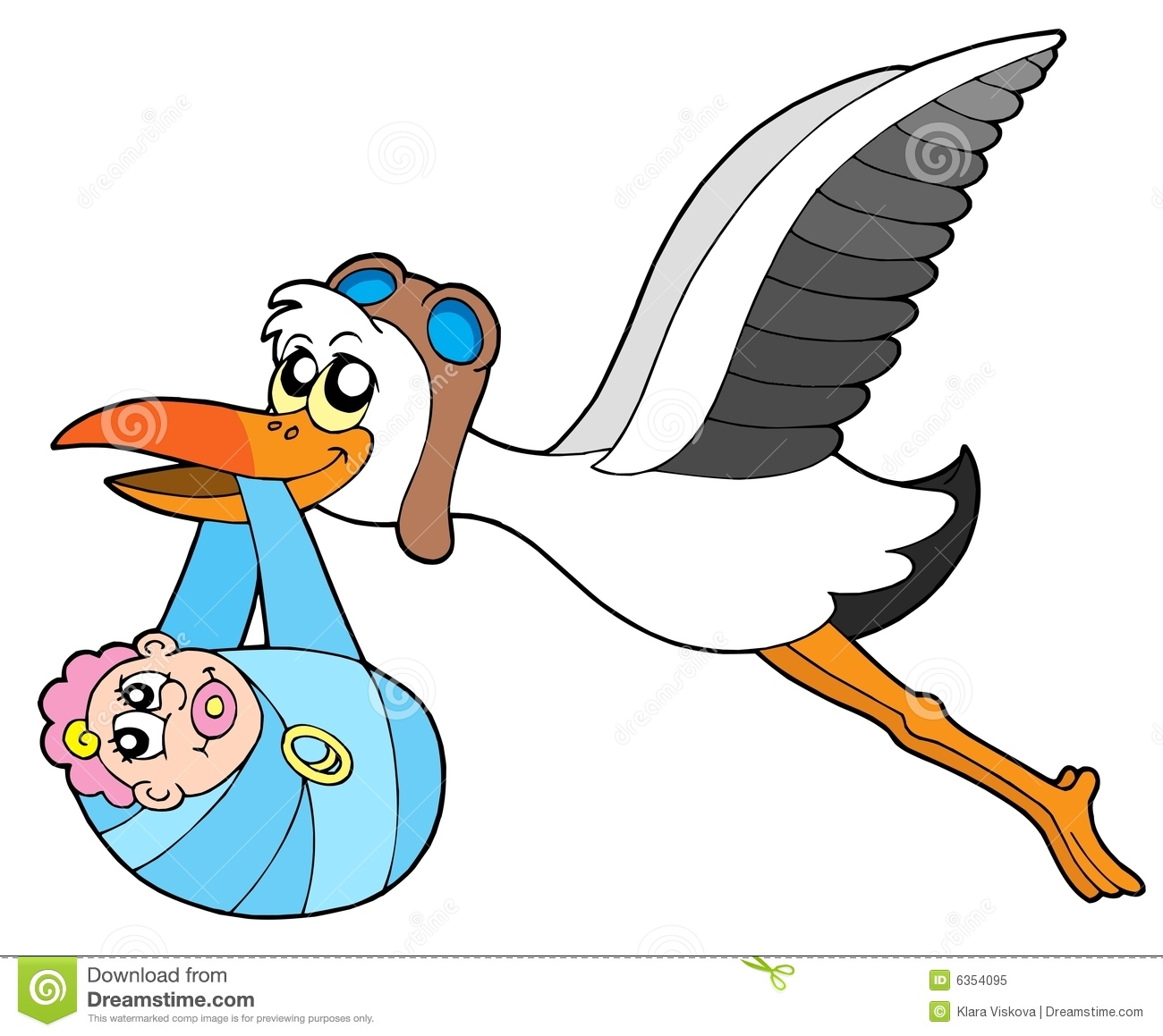 Flying Stork Delivering Baby Royalty Free Stock Photo