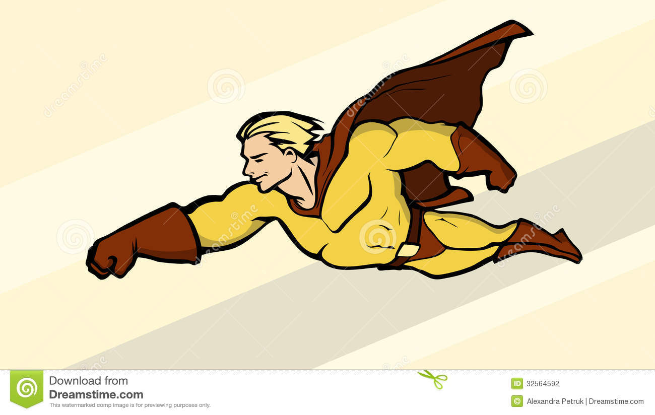 Illustration of a flying superhero in bright costume.