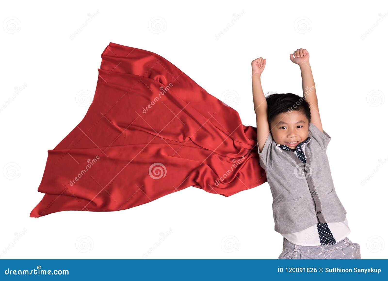 Flying superhero in studio, Child pretend to be superhero, Super