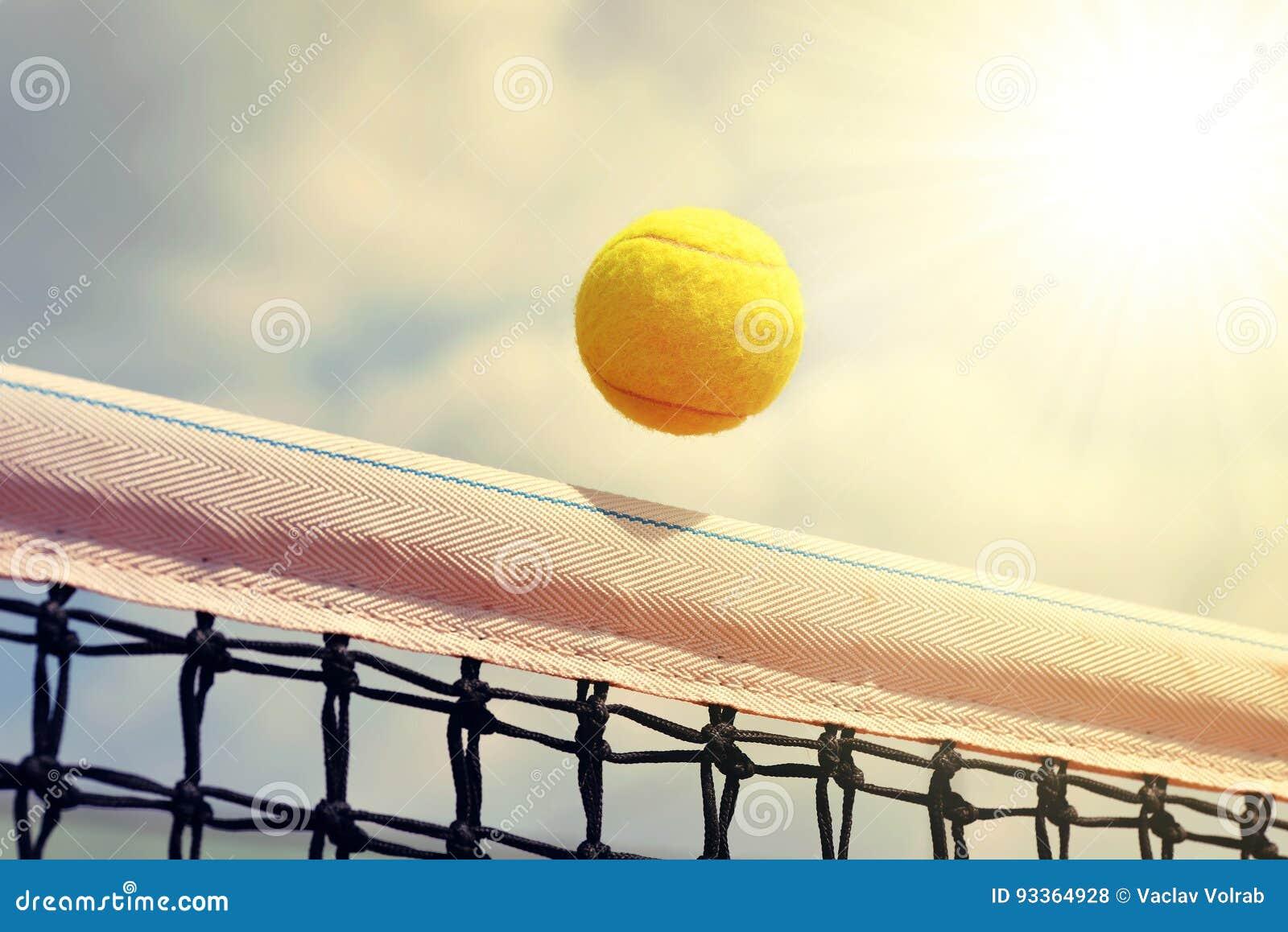 Flying tennis ball.