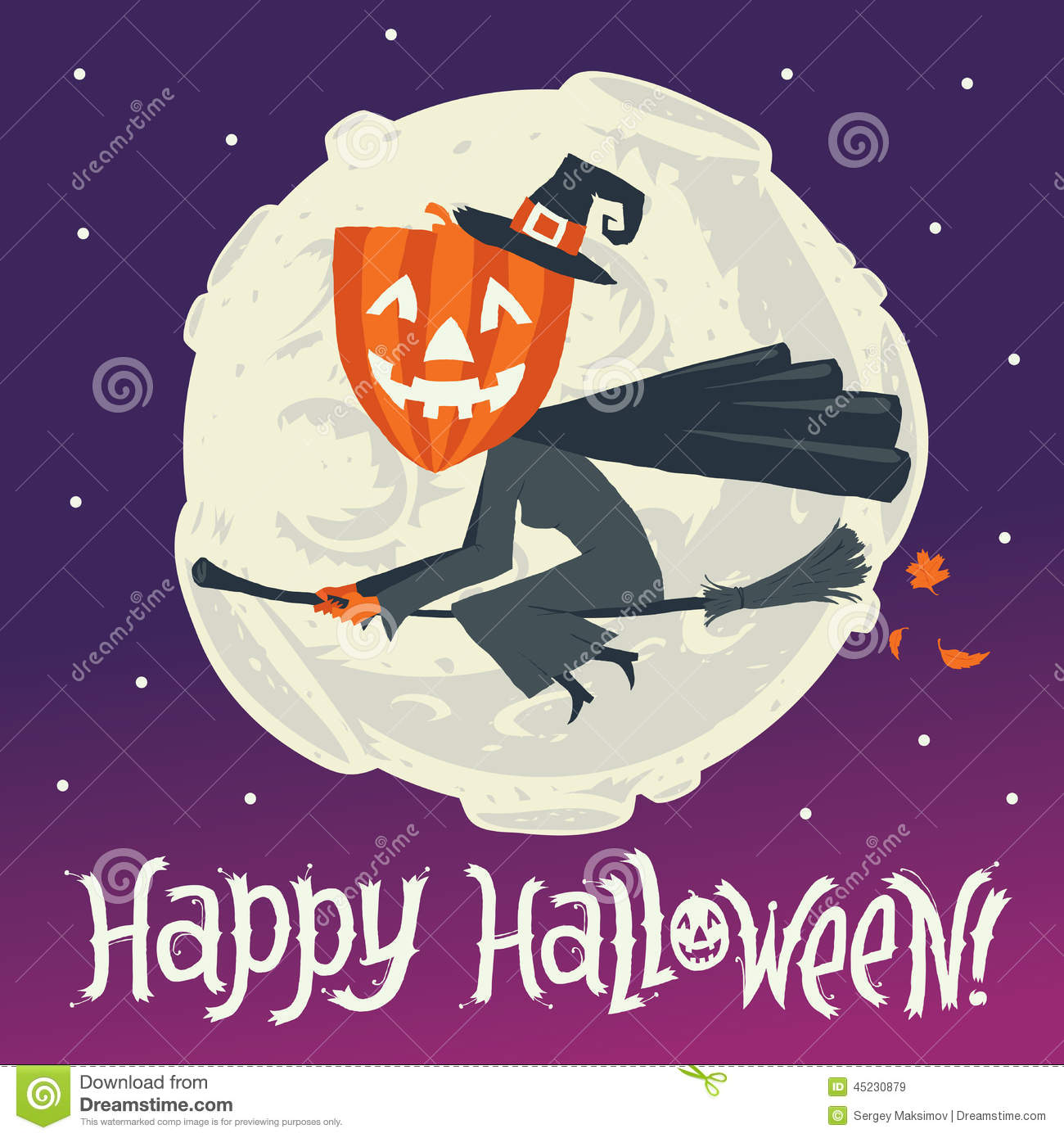A Flying Witch On A Broomstick On A Background Of The Moon. Happy ...