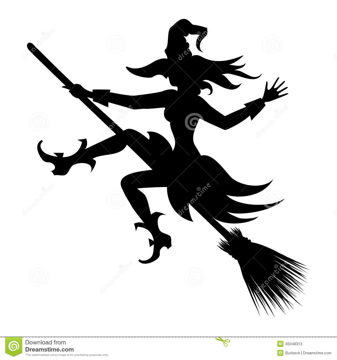 witch flying on broom vector silhouette icon for halloween