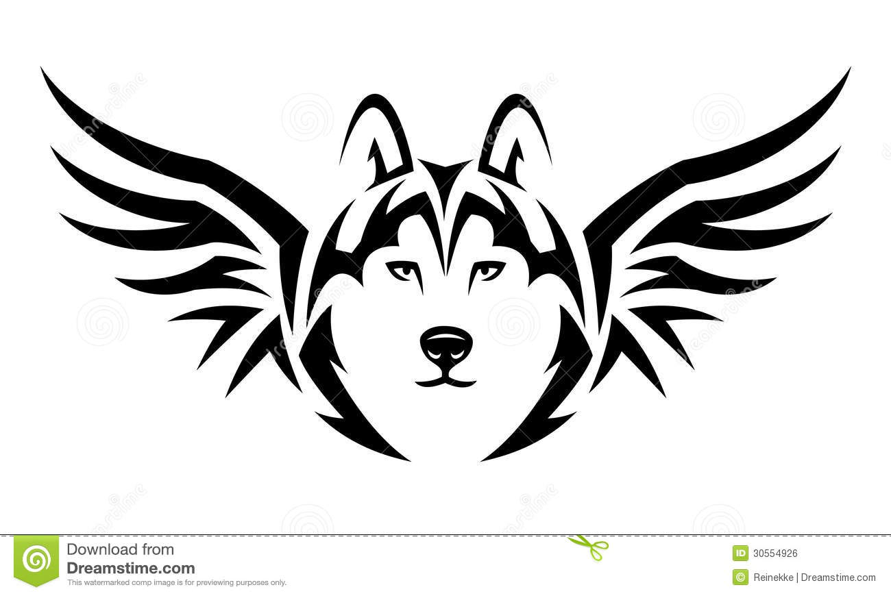Flying Wolf Tattoo Stock Vector Illustration Of Tribal 30554926