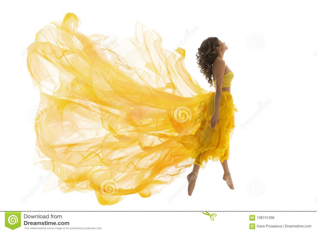Flying Woman Levitation Jump, Fashion Model in Fly Yellow Dress
