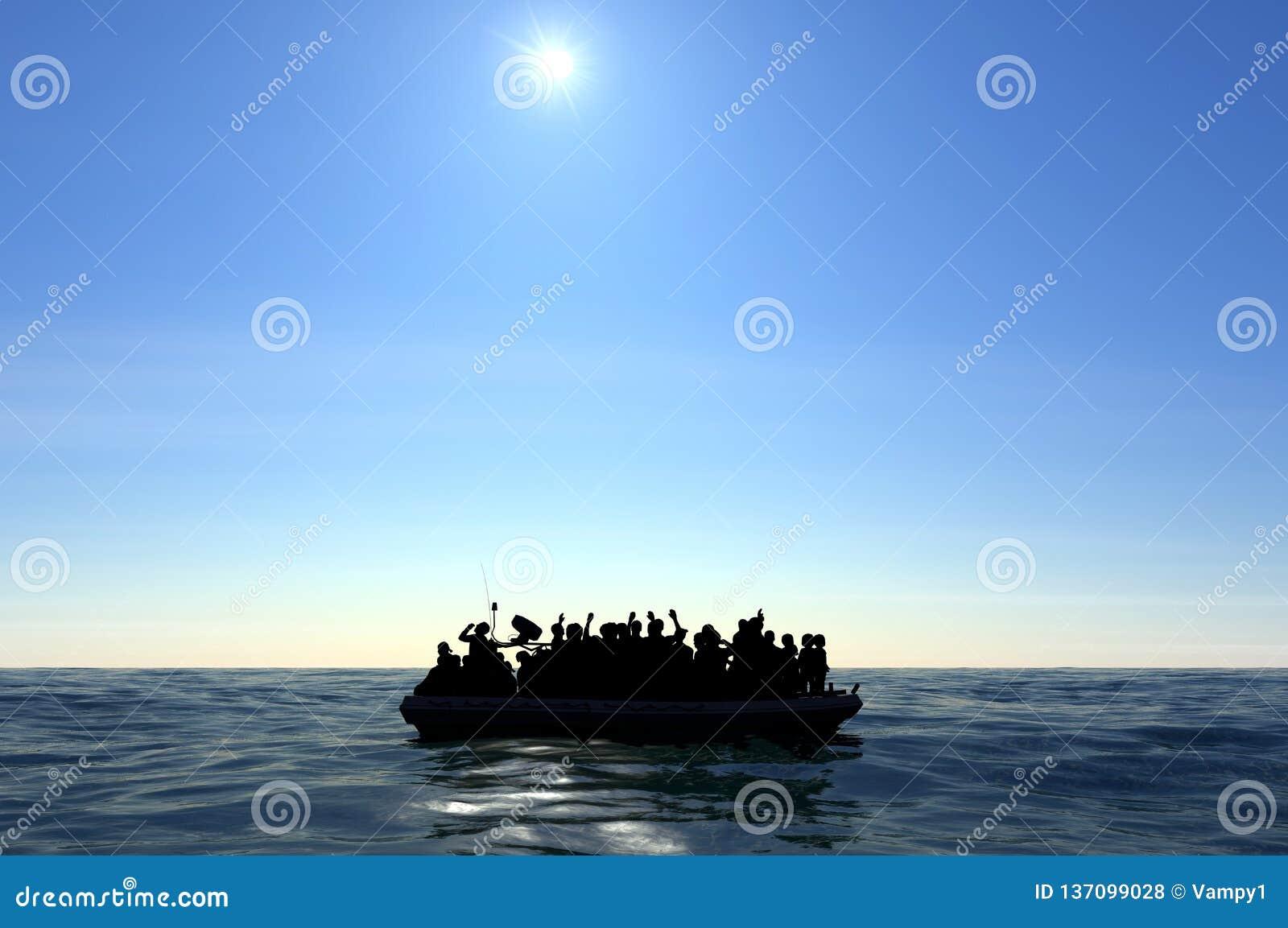 Flyktingar på ett stort gummifartyg i mitt av havet som kräver hjälp