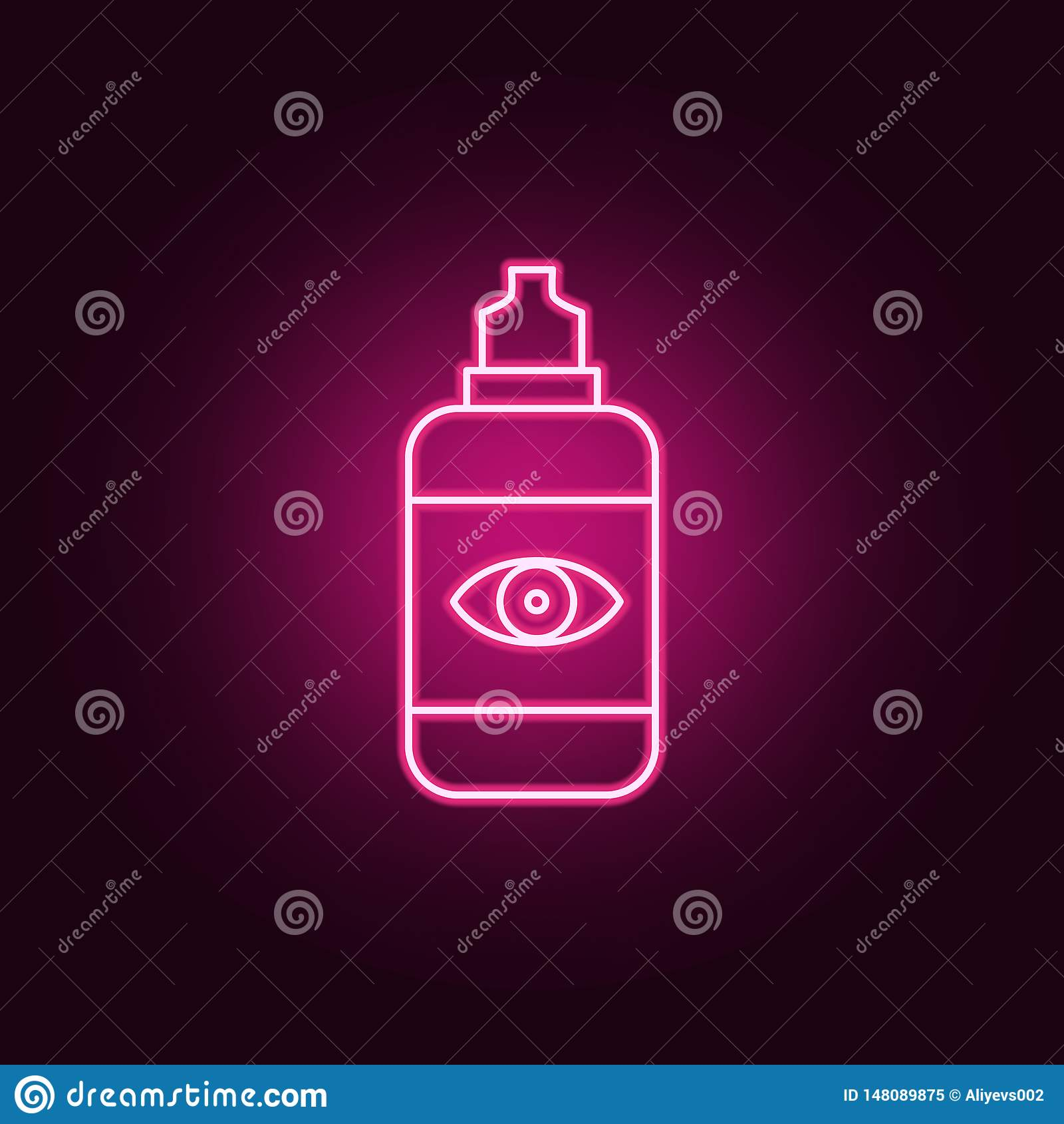 Flytande för att göra ren och att skölja, desinficera som lagrar symbolen för neon för kontaktlinser Best?ndsdelar av Medecineupp