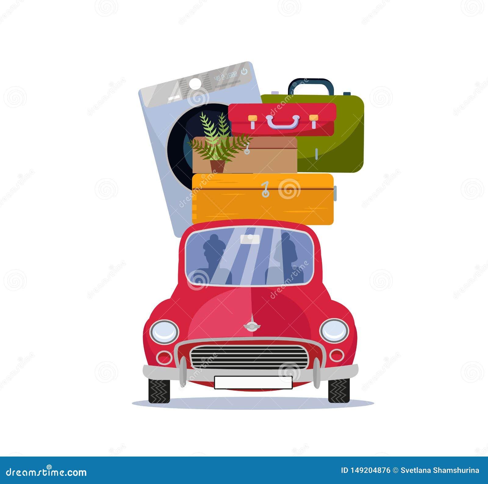 Flyttande hem- begrepp Röd tappningbil med resväskor, tvagningmaskinen och växten på taket Plan tecknad filmvektorillustration bi