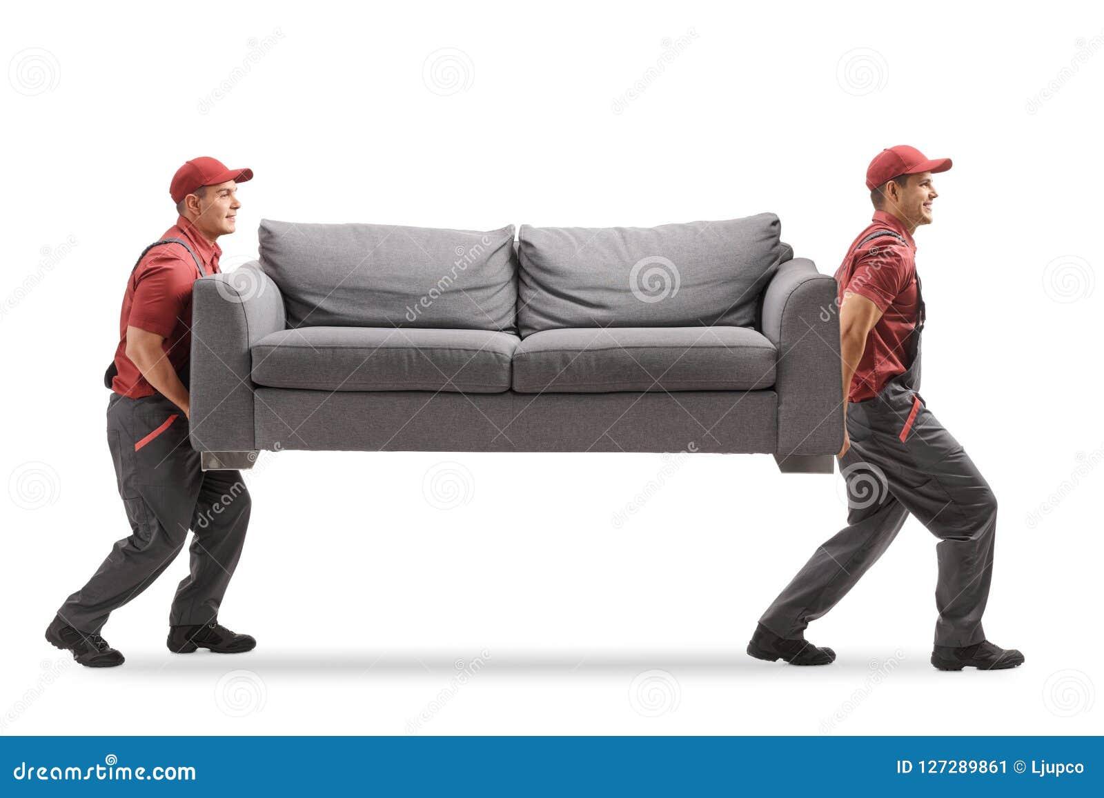 Flyttkarlar som bär en soffa