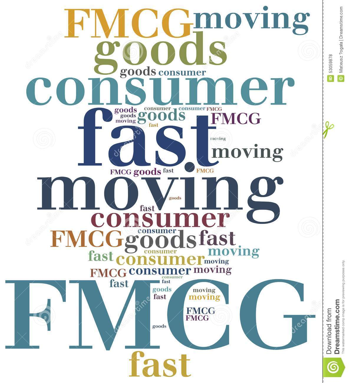 fast moving consumer goods Definition of fast moving consumer goods (fmcg): frequently purchased essential or non-essential goods such as food, toiletries, soft drinks, disposable diapers.