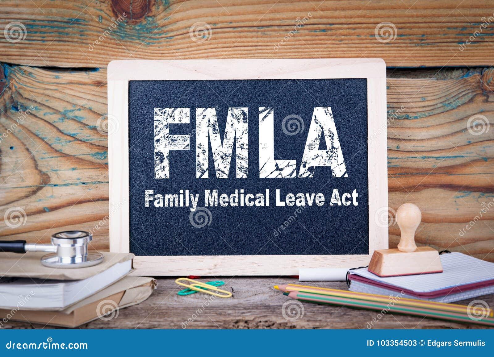 Fmla, handeling van het familie de medische verlof Bord op een houten achtergrond