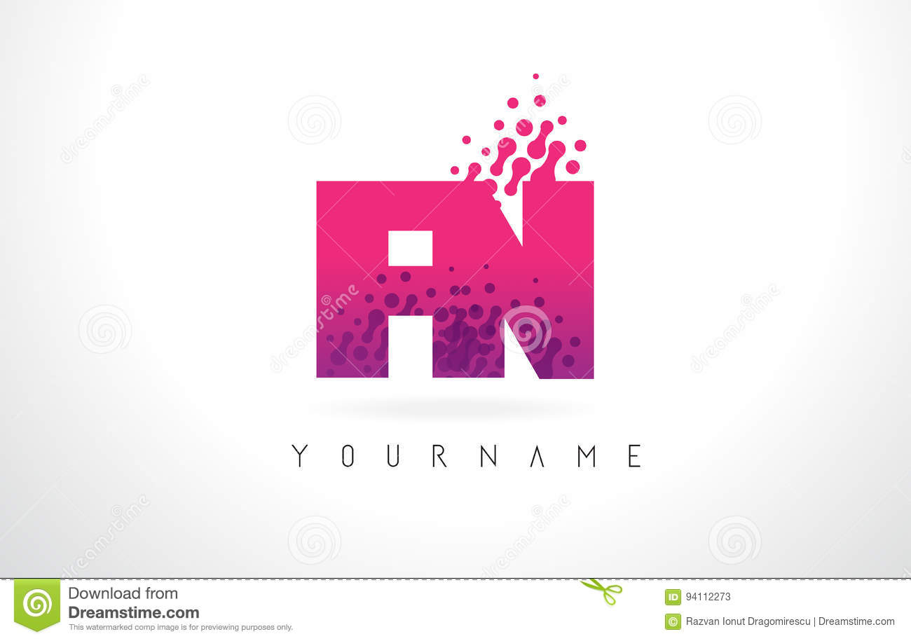 FN F N Letter Logo With Pink Purple Color And Particles Dots Des ...