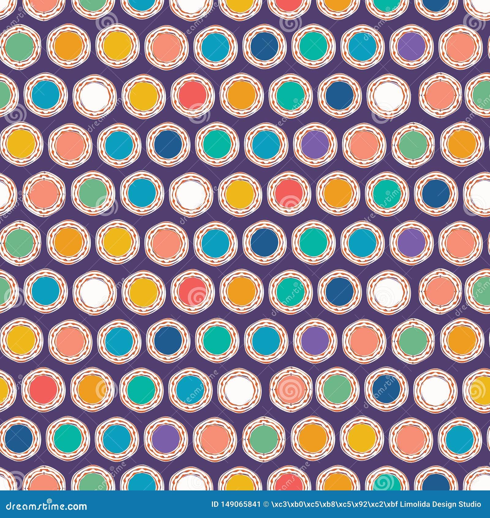 Fnoskiga cirklar f?r abstrakt organiskt snitt S?ml?s bakgrund f?r vektormodell Utdragen texturerad stil f?r hand Prickbanddiagram