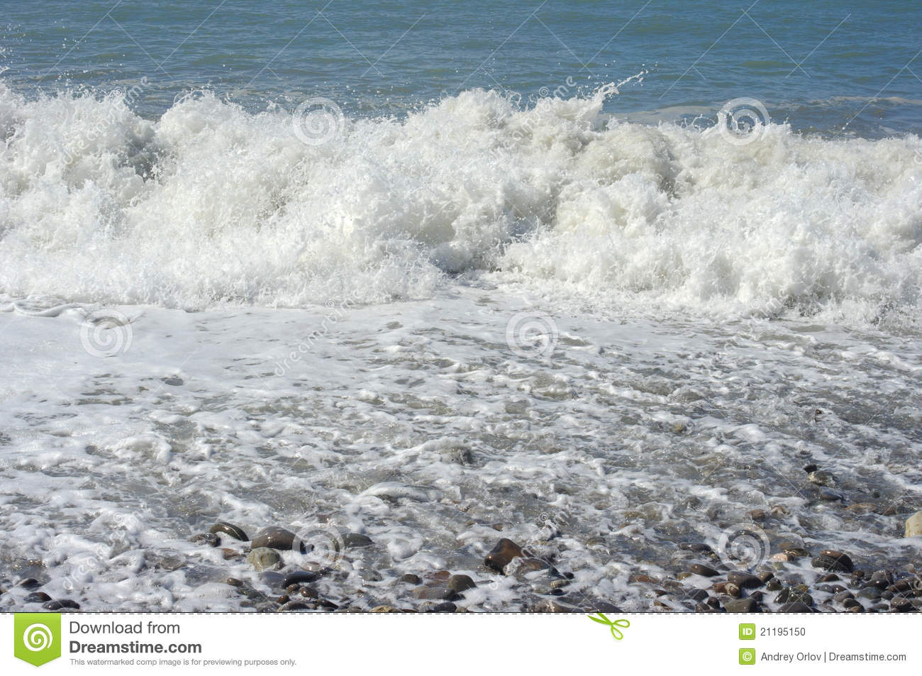Foam of water and waves of surf on the sea