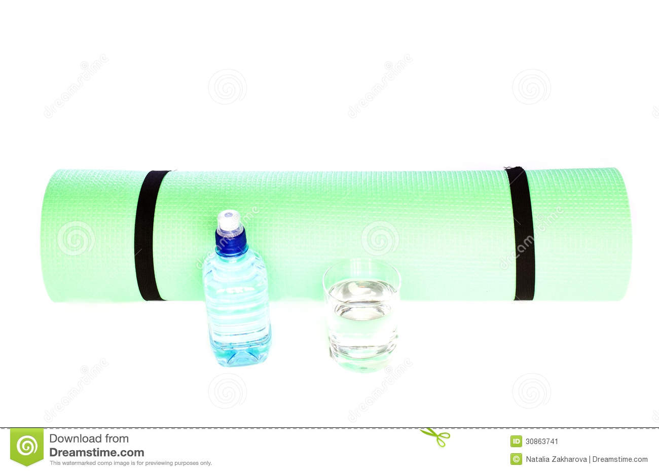 Foam Yoga Mat Roll With Bottle Of Water On White Stock