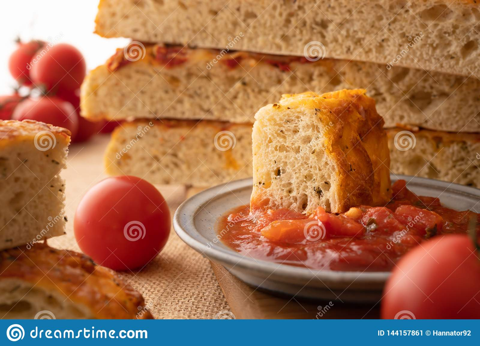 Focaccia Homemade Italian Bread Tomatoes And Bruschetta Stock Image Image Of Bruschetta Bread 144157861