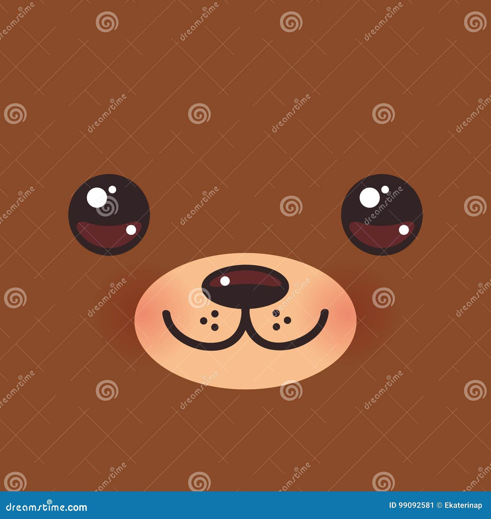 Focinho Engracado Do Urso Marrom De Kawaii Dos Desenhos Animados