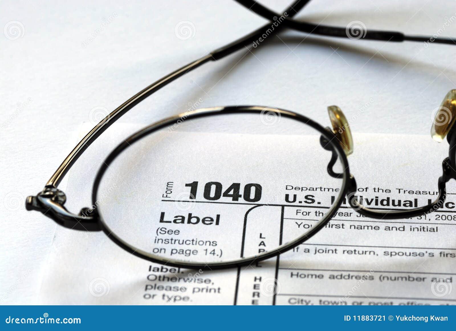Foco no imposto de renda 1040 de Estados Unidos