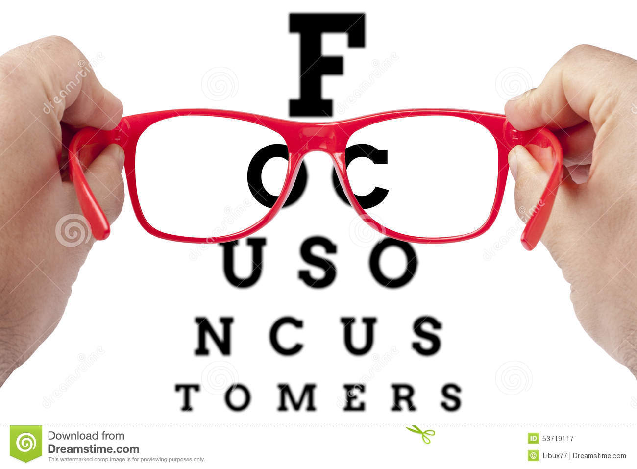 Red spectacles focusing on text focus on customers arranged as eye ...