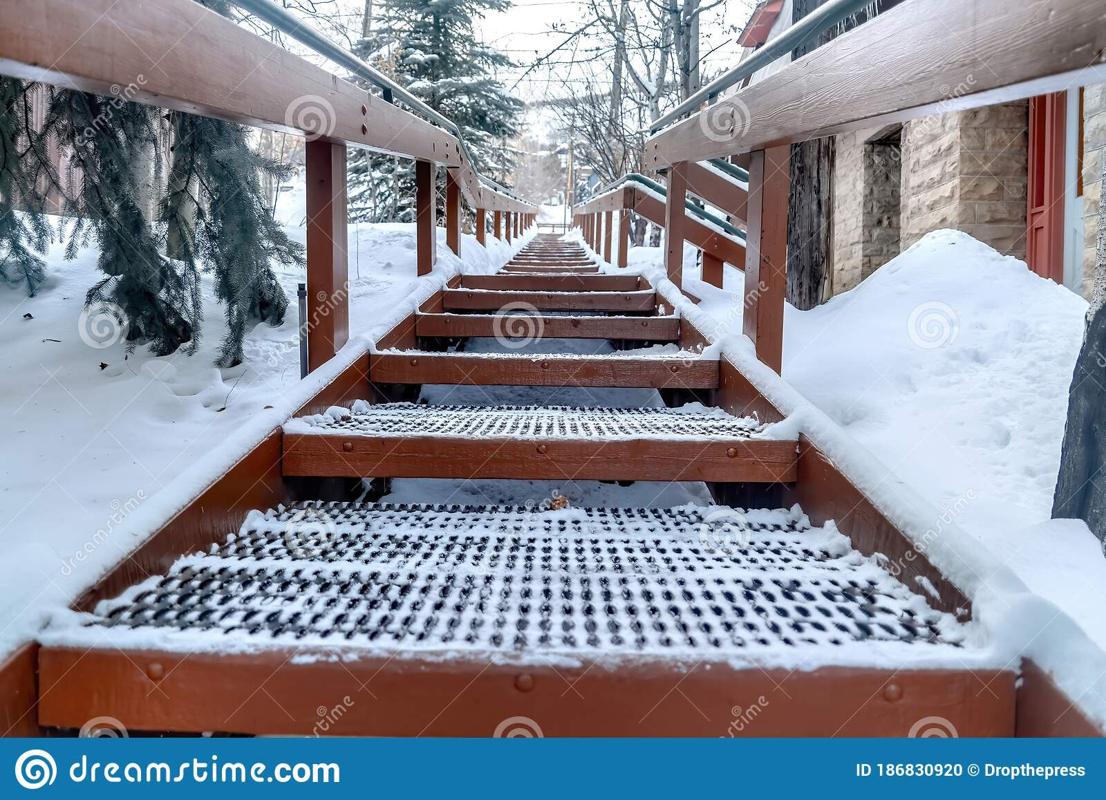 Image of: Focus On Grate Metal Treads Of Outdoor Stairs Against Snowy Hill In Winter Stock Photo Image Of Overcast Season 186830920