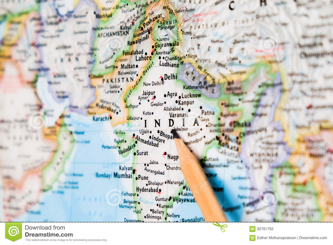 Ujjain India Map.Focus On India On The World Map With Pencil Pointing Stock Photo