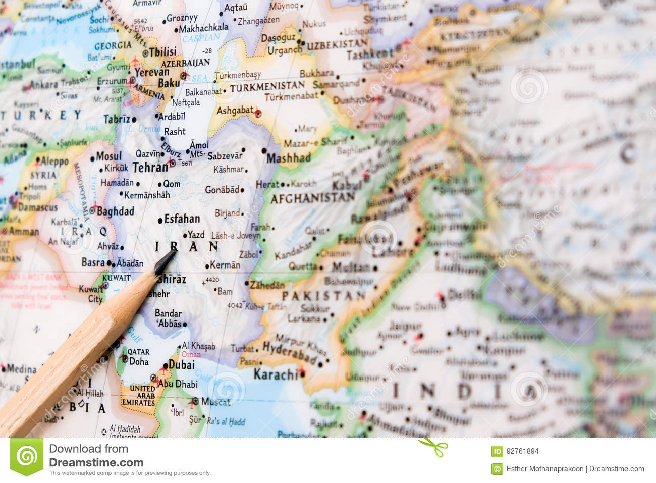 Focus on iran on the world map with pencil pointing stock photo royalty free stock photo gumiabroncs Choice Image