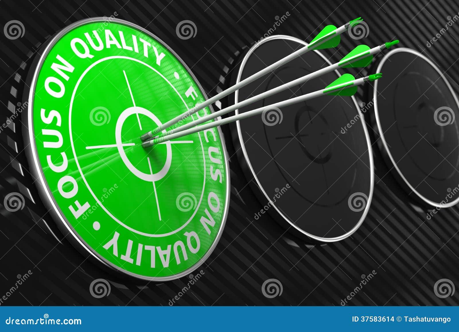Focus On Quality Slogan Green Target Stock Illustration