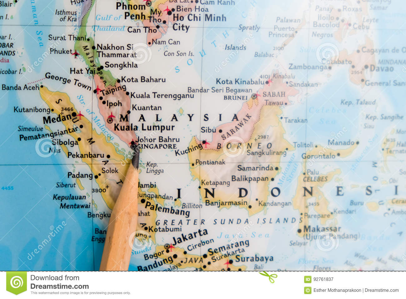 Focus On Singapore On The World Map With Pencil Pointing Stock Image