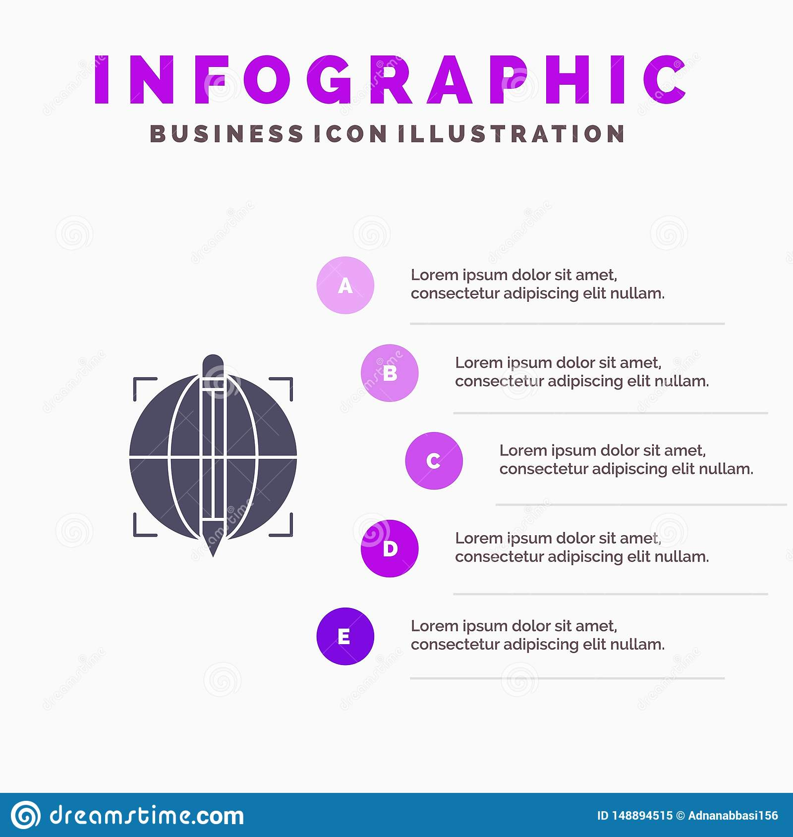 Focus, Target, Globe, Success Solid Icon Infographics 5 Steps Presentation Background