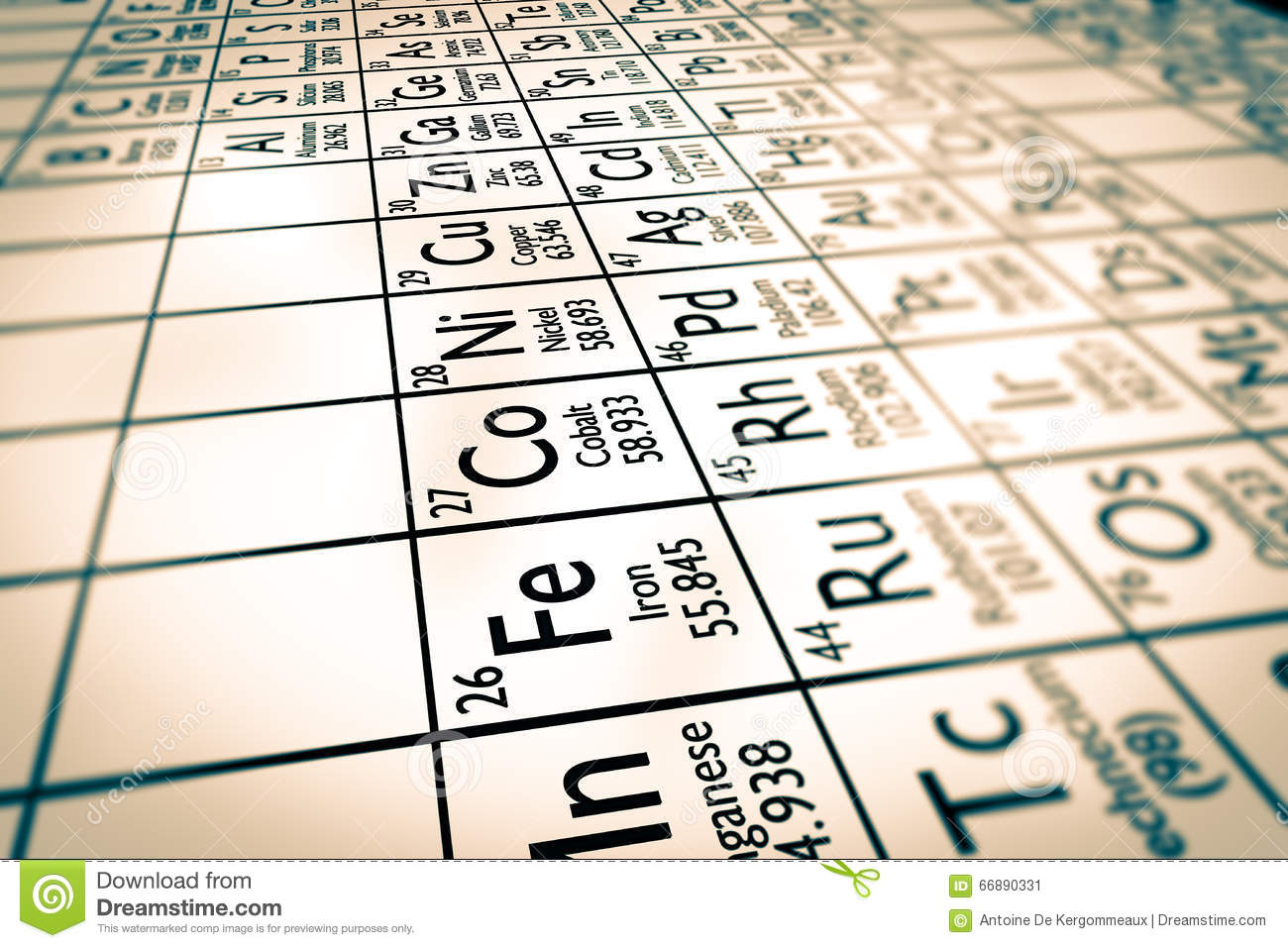 Focus On Transition Metals Chemical Elements Stock Image Image Of