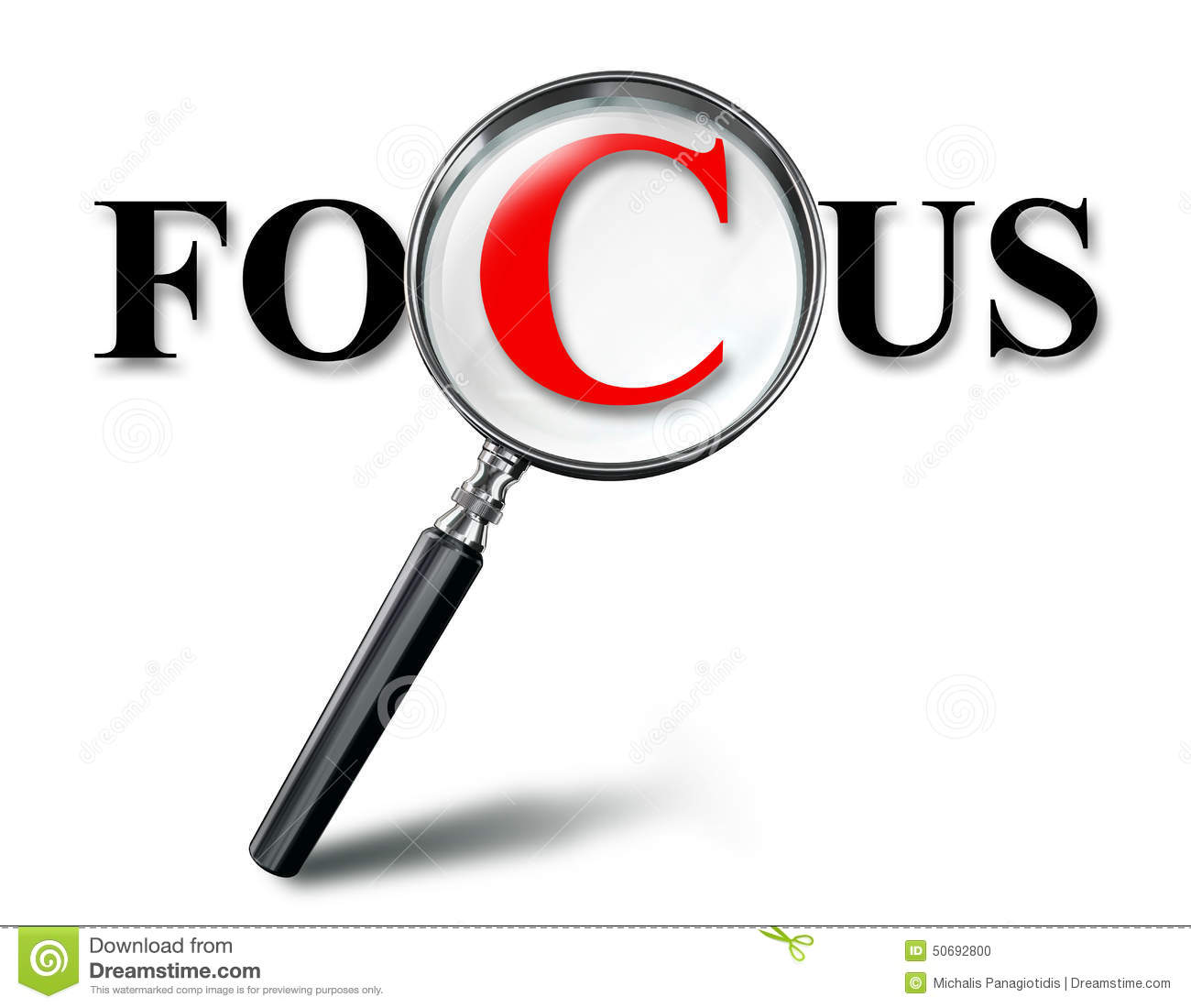 Focus Word Concept With Magnifying Glass